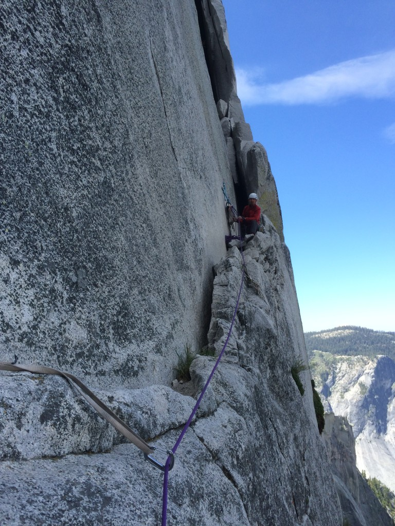Top of P11. 4 weeks after our climb, this entire ledge and much of what is behind it falls off the face of Half Dome in a massive rockfall.