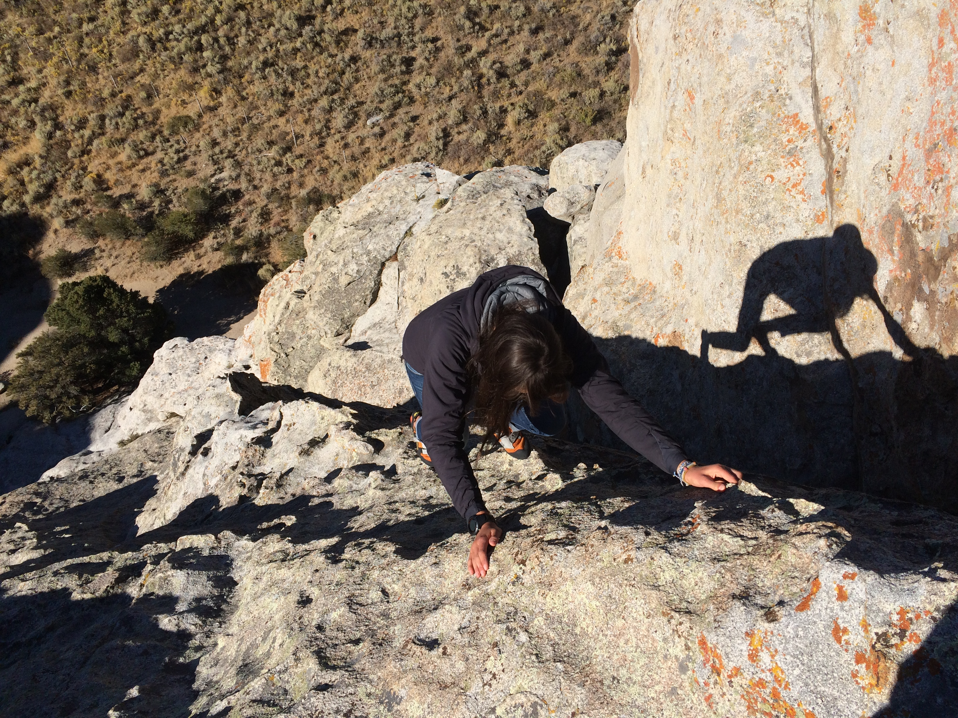 Soloing on the back side of Bath Rock, 5.1. Impeccable granite!